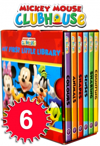 Disney Mickey Mouse Clubhouse Little Library 6 Books Collection Set (Colours, Animals, Shapes, Senses, Sharing, Counting) by Disney