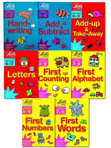 Childrens Letts Fun Learning 8 Books Collection Set 3-6 Years Alphabet, Number by