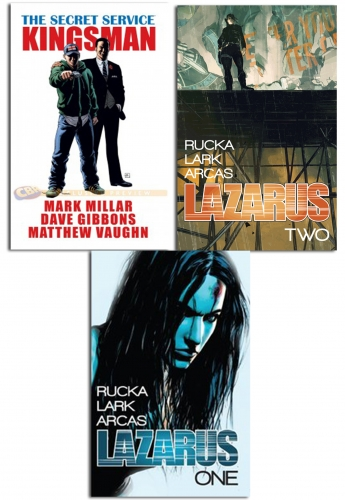Lazarus And Kingsman series Collection 3 Books Set by Greg Rucka, Mark Millar, Dave Gibbons
