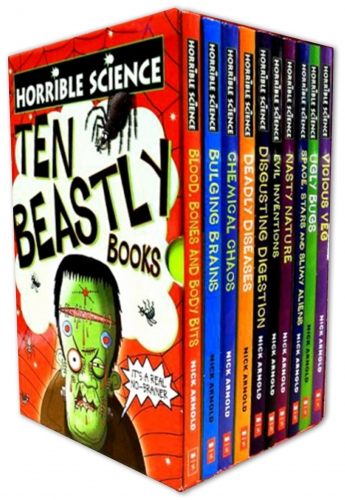 Horrible Science Collection 10 Beastly Books Set Gift Pack Nick Arnold Boxset by Nick Arnold