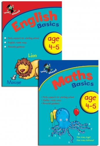 Leap ahead Maths and English Basics ages 4-5, 2 Set Book Collection, Easy by Paul Broadbent, Peter Patilla and Louis Fidge