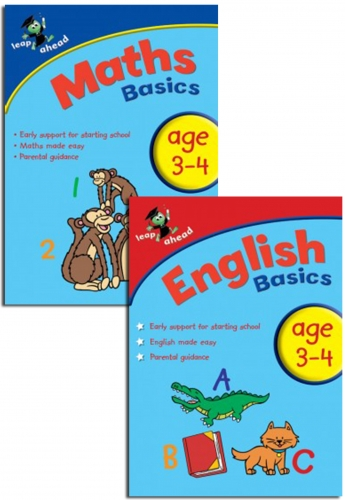 Leap ahead Maths and English Basics ages 3-4, 2 Set Book Collection, Easy Pb by Paul Broadbent, Peter Patilla and Louis Fidge