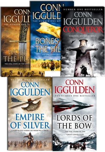 Conqueror Series Collection 5 Books Set By Conn Iggulden Wolf of the Plains,  Lords of the Bow, Bones of the Hill, Empire Of Silver, Conqueror by Conn Iggulden