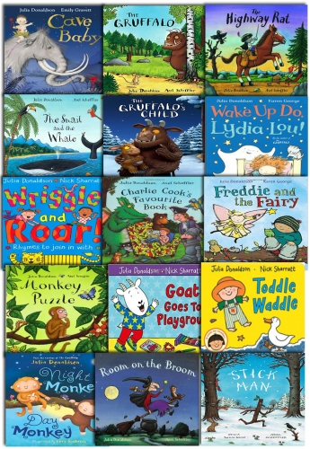 Julia Donaldson Collection 15 Books Set Pack NEW The Gruffalo, The Highway Rat by Julia Donaldson