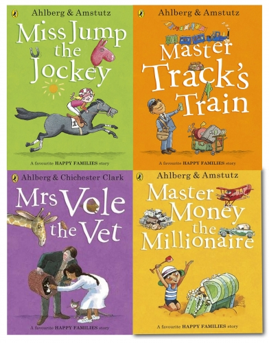 Happy Families Children Picture Flat 4 Books Collection Set - Master Money the Millionaire, Mrs Vole the Vet, Miss Jump the Jockey, Master Tracks Trai by Allan Ahlberg