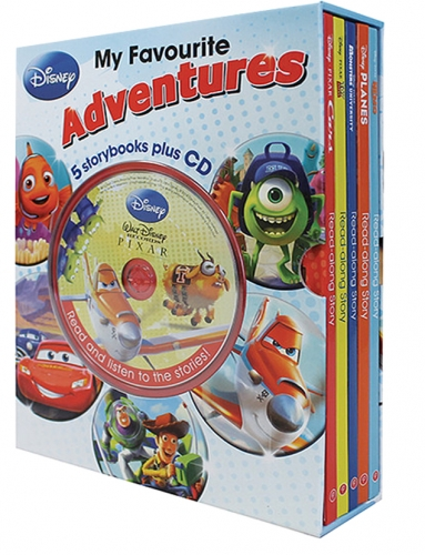 Disney My Favourite Adventures 5 Books Collection Box Set With CD (Toy Story, Cars, Planes, Monsters University, Finding Nemo) by Disney