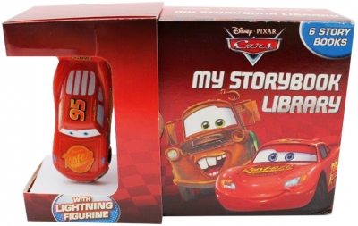 Disney Pixar Car My Storybook Library 6 Board Books with Lightning Figurine Toy by Disney