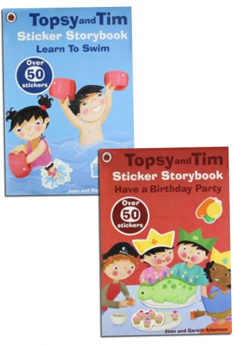 Topsy and Tim Sticker Storybook Series Collection 2 Books Set by Jean and Gareth Adamson