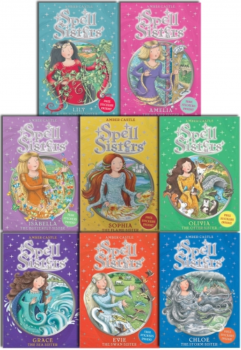 Spell Sisters Series Collection Amber Castle 8 Books Set Set Pack Inc Sticker by Amber Castle