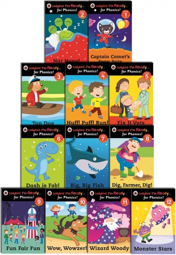 Ladybird I'm Ready for Phonics 12 Books Children Collection Set Level 1 to 12 by Ladybird