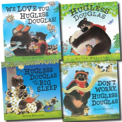 Hugless Douglas Collection David Melling 4 Books Set (Hugless Douglas, Hugless Douglas and the Big Sleep, Don't Worry Hugless Douglas, We Love You Hug by David Melling