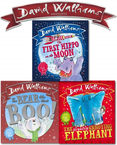 David Walliams Children Picture Book Collection 3 Books Set The First Hippo on the MoonThe Slightly Annoying Elephant The Bear Who Went Boo by David Walliams