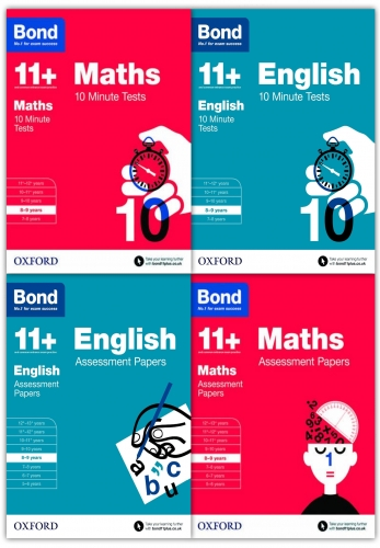 Bond 11+ English & Maths 4 Books Set Ages 8-9 Inc Assessment and Tests by Bond 11+