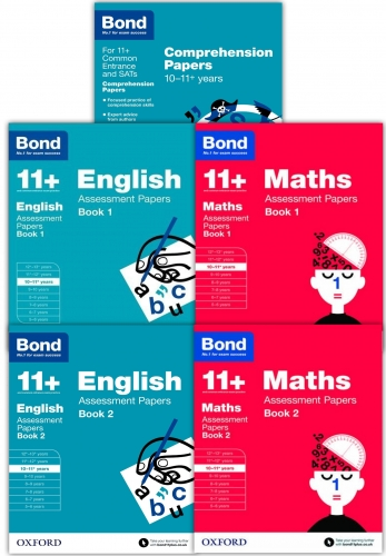 Bond Books, Bond 11+ plus Assessment Papers English Maths and Comprehension 10-11 Year 5 Books Collection Set by Bond 11+