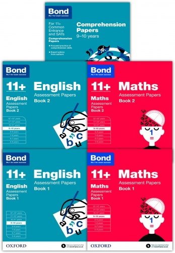 Bond 11+ English, Maths, Comprehensions 5 Books Set Ages 9-10 years  Inc Assessment Papers and Tests by Bond 11+