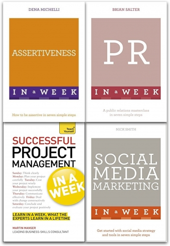 Teach Yourself Business Management 4 Books Collection Set Project, Social Media Marketing, Public Relation, Assertiveness by Nick Smith, Martin Manser, Dena Michelli, Brian Salter