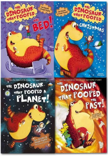 The Dinosaurs That Pooped 4 Books Set Children Collection (The Dinosaur That Pooped The Past, Christmas, Planet, Bed) by Tom Fletcher & Dougie Poynter