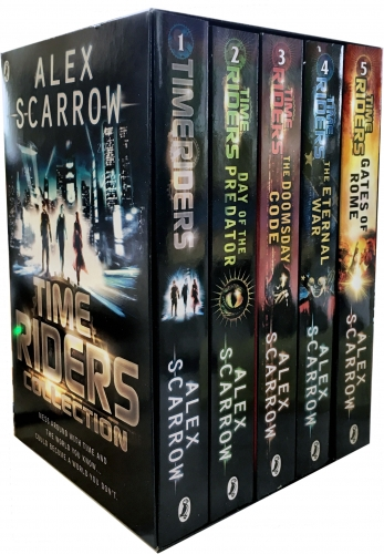 TimeRiders Collection Alex Scarrow 5 Books Set Pack Gates of Rome The Eternal War The Doomsday Code Days of the Predator TimeRiders by Alex Scarrow
