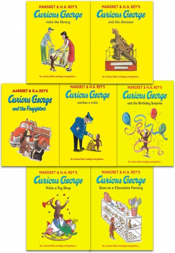 Curious George The Monkey Collection Margret Rey 7 Books Set by Margret Rey