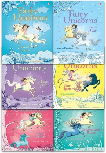 Usborne Fairy Unicorns Collection 6 Books Set by Zanna Davidson (Star Spell, Frost Fair, Enchanted River, Wind Charm, Cloud Castle, Magic Forest) by Zanna Davidson