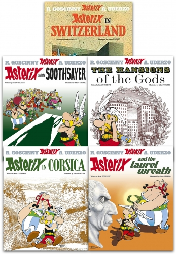 Asterix Series 4 Collection 5 Books Set (Book 16-20) (Asterix in Switzerland, The Mansions of The Gods, Laurel Wreath, Soothsayer, in Corsica) by Rene Goscinny, Albert Uderzo