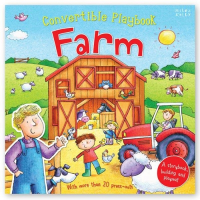 Miles Kelly Convertible Farm 3 in 1 Book Playmat and Toy for Children by Claire Phillip
