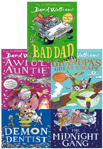 David Walliams Series 2 - 5 Books Collection Set (Midnight Gang, Bad Dad, Grandpas Great Escape, Awful Auntie, Demon Dentist) by David Walliams