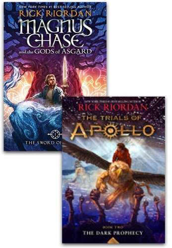 Rick Riordon Deluxe 2 Books Collection Set Magnus Chase And The Gods Of Asgard - The Trials Of Apollo The Dark Prophecy by Rick Riordon