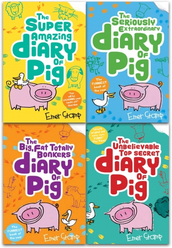 Diary of Pig Emer Stamp Collection 4 Books Set the big, fat, totally bonkers, the seriously extraordinary, the super amazing adventures of me by Emer Stamp