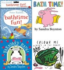 baby bath books, Baby books, Bath Books, bath books for toddlers, Peter Rabbit Bathtime Fun (PR Baby books), Bath Time, Barnyard Bath!, Colour Me: Who's in the Pond?: Baby's first Bath Book