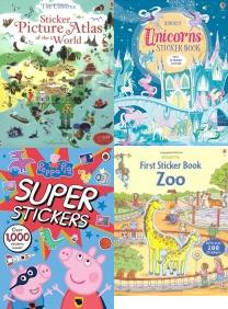 Sticker Picture Atlas of the World (Sticker Books), Unicorns Sticker Book (Sticker Books), Peppa Pig Super Stickers Activity Book, First Sticker Zoo (Usborne First Sticker Books), Big Dinosaur Sticker Book (Sticker Books), The Gruffalo Sticker Book, Farm Sticker Book, Build Your Own Superheroes Sticker Book (Build Your Own Sticker Bo, Peppa Pig: 1000 First Words Sticker Book, Sticker Books, Activity Books, Childrens Books, Kids Books, Atlas, Unicorns, Peppa Pig, Zoo, Dinosaur, Gruffalo, Farm