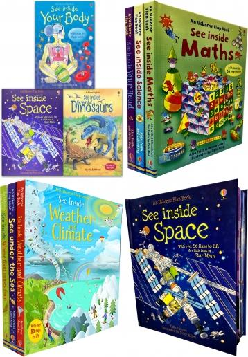 Usborne See Inside Collection 3 Books Set (Series 1) Titles in the Set The World of Dinosaurs, See Inside Space, See Inside Your Body, Usborne See Inside Collection 3 Books Set (Maths, Science, See your Body Head) (Series 2) Titles in the Set See Inside Your Head, See inside Maths, See inside Science, usborne books, kids books, childrens books, pop up book, picture book, toddler books