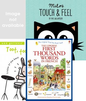 Pre School & Nursery Education Books, Interactive Adventures, Were Going on a Bear Hunt, First 100 Collection, Peppa Pig, Phonics Flashcards, Education Studies, Milo Touch And Feel Book, Complete Book of First Experiences, Usborne My First Thousand Words in French Toot Toot Boom! Listen to the Band