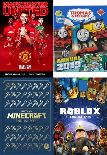 Guinness World Records 2019, Ripleyâ??s Believe It or Not! 2019 (Annuals 2019), Private Eye Annual 2018 (Annuals 2018), Guinness World Records Gamers 2019, Beano Annual 2019 (Annuals 2019), Viz Annual 2019 The Pieman's Wig: A Hair-Raising Weave of the Best, The GCHQ Puzzle Book II, Match of the Day Annual 2019 (Annuals 2019), Roblox Annual 2019, Match Annual 2019 (Annuals 2019), Doctor Who: Official Annual 2019, Weird But True! 2019: Wild & Wacky Facts, Calendars, Diaries, Annuals, 2019 books