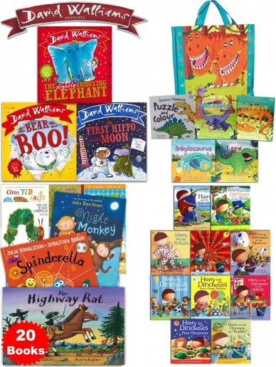 Hungry Caterpillar, Eric Carle, Spinderella, Stick Man, Julia Donaldson, The World of David Walliams, David Walliams,  The First Hippo on the Moon, The Slightly Annoying Elephant, The Bear Who Went Boo, The Snowman, Raymond Briggs, Guess How Much I Love You, Sam McBratney, Burglar Bill, Each Peach Pear Plum, Allan Ahlberg, The Dinosaur That Pooped A Princess, Tom Fletcher, Where The Wild Things Are, Maurice Sendak