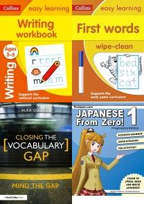 Writing Workbook Ages 3-5: New Edition (Collins Easy Learning Pres, First Words Age 3-5 Wipe Clean Activity Book (Collins Easy Learnin, Closing the Vocabulary Gap, Japanese from Zero! 1: Proven Methods to Learn Japanese with Integ, English Grammar in Use Book with Answers: A Self-Study Reference, Best of Languages Books, BSL, Dictionary, Sign Language, Chinese, French, Phonics, Spanish, Australian, Languages, World, Grammar, Culture, Literacy, Japanese, Speech, Vocabulary, Italian