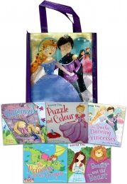 Princess Adventure Collection 5 Books Set Puzzle and Colour, The Twelve Dancing Princesses, Beauty and the Beast, Princess and the Dragon, Rapunzel by Miles Kelly