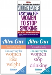 Allen Carr 3 Books Collection Set (The Easy Way for Women to Lose Weight, The Easy Way for Women to Stop Drinking, Women to Stop Smoking) Photo