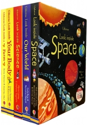 Usborne Look Inside Collection 5 Books Set (Space, Farm, Our World, Science, Your Body) Photo
