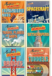 Awesome Engineering Collection 6 Books Set (Bridges, Fairground Rides, Skyscrapers, Spacecraft, Trains, Planes and Ships, Tunnels) by Sally Spray