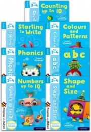 Preschool Progress with Oxford 7 Books Collection Set (Age 3-4) (Counting, Numbers, Abc, Starting to Write, Colours and Patterns, Phonics) Photo