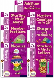 Progress with Oxford Series 7 Books Collection Set (Age 4-5) (Addition and Subtraction, Phonics, Numbers and Counting, Starting to Write Letters) Photo