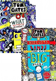 Tom Gates 2 Books Collection Set By Liz Pichon (What Monster?, Biscuits, Bands and Very Big Plans) Photo