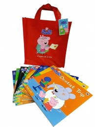 Peppa Pig 10 Story Books Set Collection with CDs - Red Bag Photo