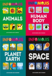 Infomojis Series Collection 4 Books Set (Animals, Planet Earth, Human Body, Space) Books for Childrens Photo