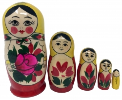 Wooden Russian Nesting Babushka Matryoshka 5 Dolls Set Hand Painted New Photo
