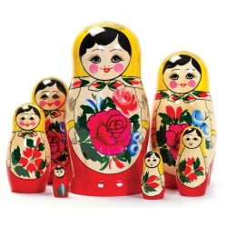 Wooden Russian Nesting Babushka Matryoshka 7 Dolls Set Hand Painted New Photo