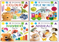 First Learning Play Set 4 Books Collection Set for Kids with Playable Puzzle - Colours, Numbers, First Words and Animals by Roger Priddy
