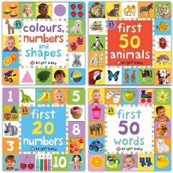 Lift-the-Flap Tab Books Collection 4 Books Set Colours Numbers and Shapes First 20 Numbers First 50 Words First 50 Animals Photo