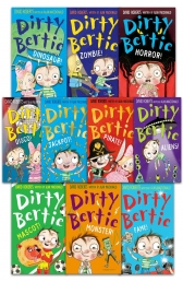 Dirty Bertie - Series 3 -David Roberts 10 Books Collection Set My Joke Book, Disco, Monster, Fame, Aliens, Pirate, Dinosaur, Zombie, Horror, Jackpot Photo
